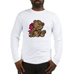 Whimsical Art Bear and Red Bow Long Sleeve T-Shirt