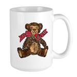 Whimsical Art Teddy Bear and Red Bow Large Mug