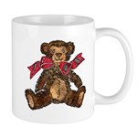 Whimsical Art Teddy Bear and Red Bow Mug