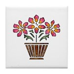 Floral Art Vase Design Tile Coaster