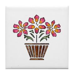 Floral Art Vase Design Tile Coaster