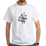 Blue Floral Art White T-Shirt