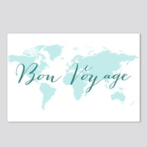 Bon voyage world map Postcards (Package of 8)