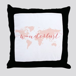 Wanderlust world map Throw Pillow