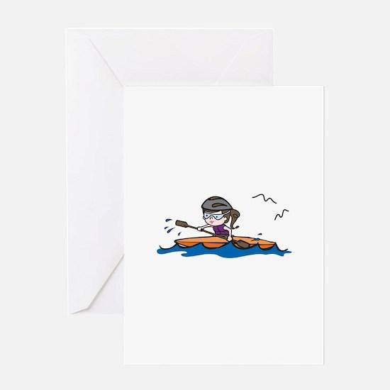 Kayak Girl Greeting Cards