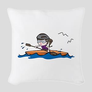 Kayak Girl Woven Throw Pillow