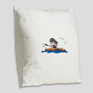 Kayak Girl Burlap Throw Pillow