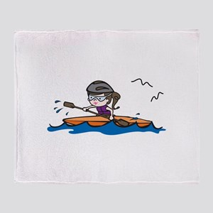 Kayak Girl Throw Blanket