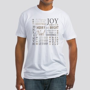 modern vintage christmas words Fitted T-Shirt