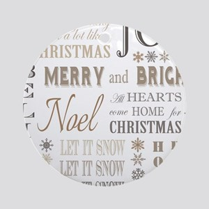 modern vintage christmas words Ornament (Round)