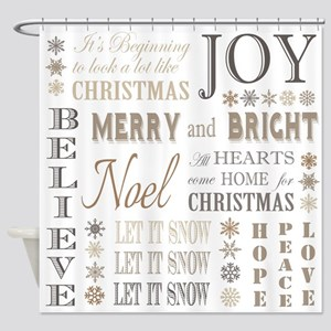 modern vintage christmas words Shower Curtain