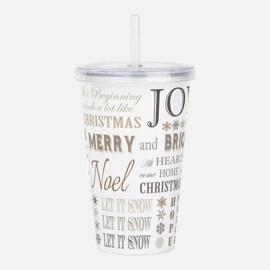 modern vintage christmas words Acrylic Double-wall