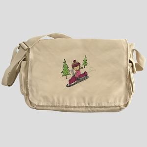Snowmobile Downhill Messenger Bag