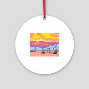 Newport Harbor Sunset Ornament (Round)