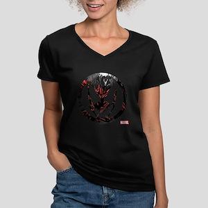 Carnage Logo Women's V-Neck Dark T-Shirt