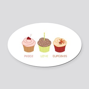 Peace Love Cupcakes Oval Car Magnet