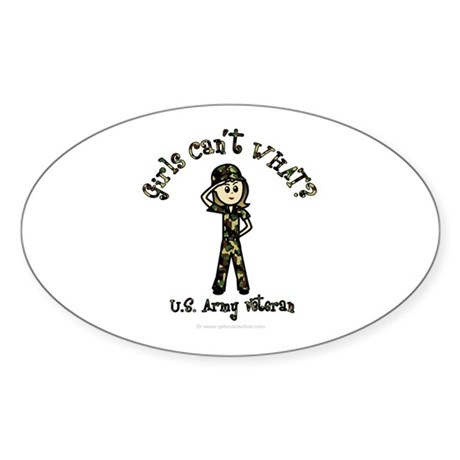 Light Army Veteran Oval Sticker