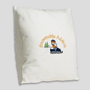 Snowmobile Addict Burlap Throw Pillow
