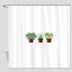 Potted Herbs Shower Curtain