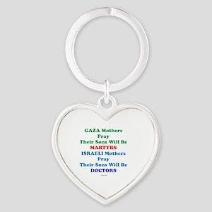 Gaza Vs Israeli Mothers Heart Keychain