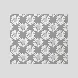 Grey Flowers, Throw Blanket