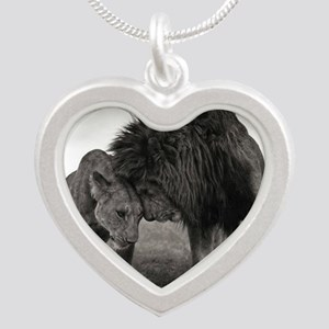 the Lion and Lioness  Silver Heart Necklace