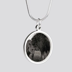 the Lion and Lioness  Silver Round Necklace