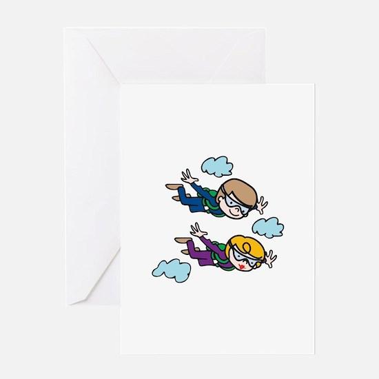 Skydiving Kids Greeting Cards