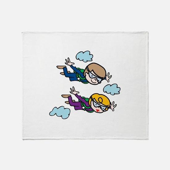 Skydiving Kids Throw Blanket