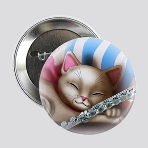 """Napping Cat and Flute 2.25"""" Button"""