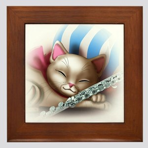 Napping Cat and Flute Framed Tile