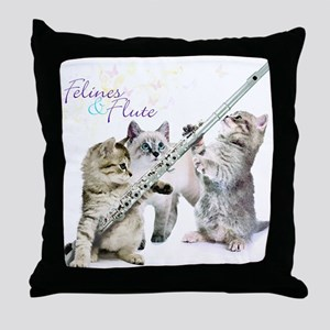 Felines Flute Throw Pillow