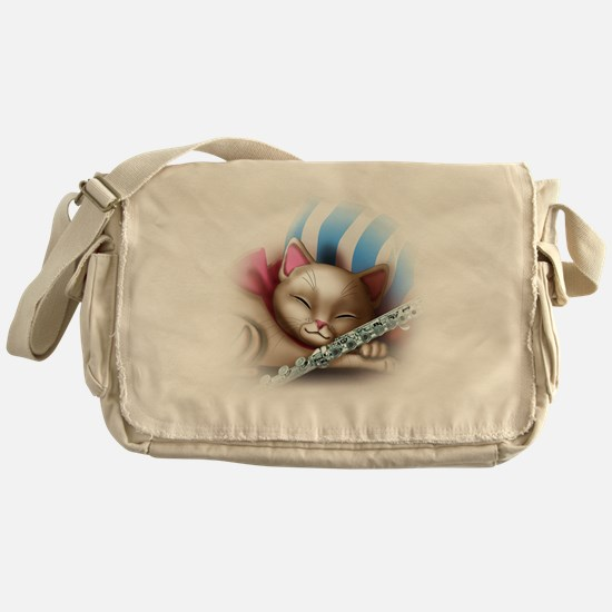 Napping Cat and Flute Messenger Bag