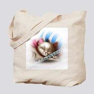 Napping Cat and Flute Tote Bag