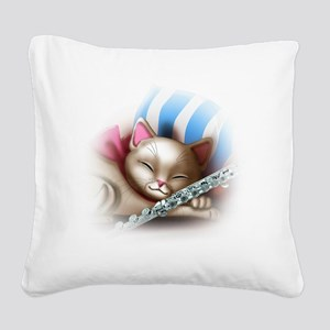 Napping Cat and Flute Square Canvas Pillow