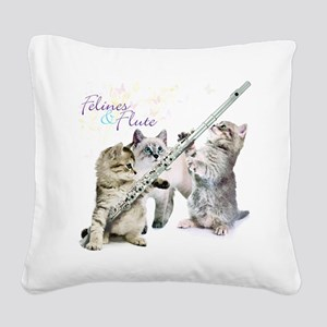 Felines Flute Square Canvas Pillow