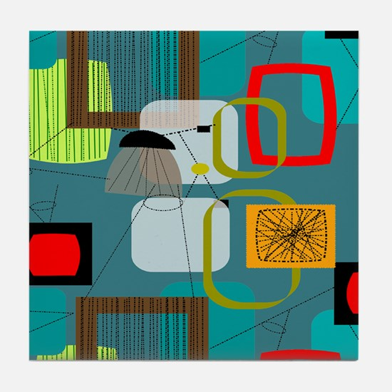 Mid-Century Modern Abstract Tile Coaster