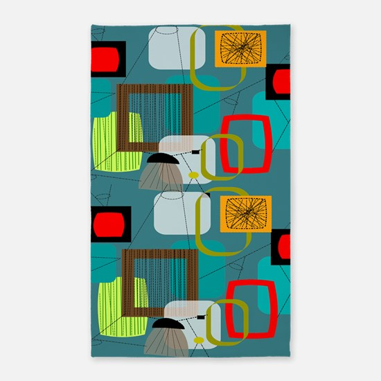 Mid Century Modern Abstract 3 X5 Area Rug