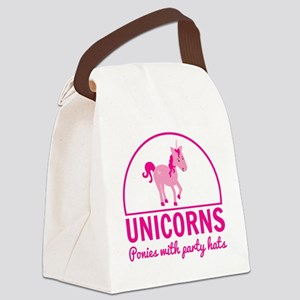 Unicorns ponies party hats Canvas Lunch Bag