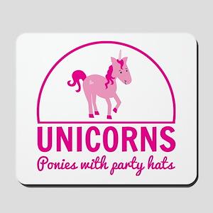 Unicorns ponies party hats Mousepad
