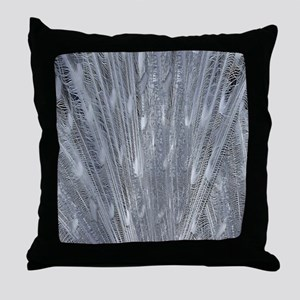 Silver Peacock Feathers Throw Pillow
