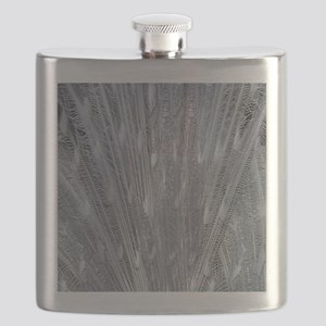 Silver Peacock Feathers Flask