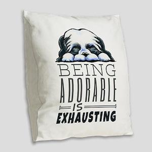 Adorable Shih Tzu Burlap Throw Pillow