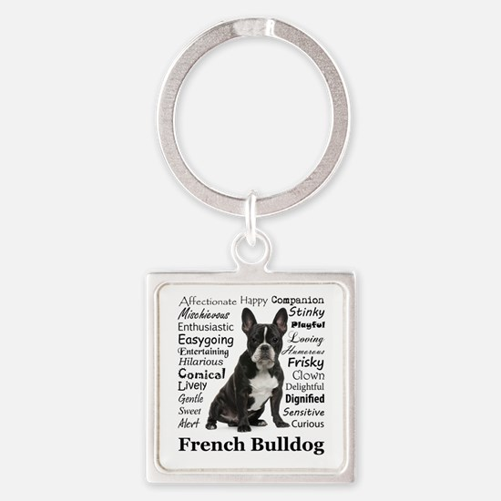 Frenchie Traits Square Keychain