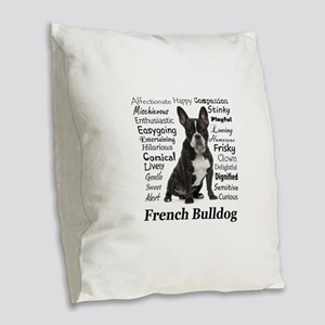 Frenchie Traits Burlap Throw Pillow
