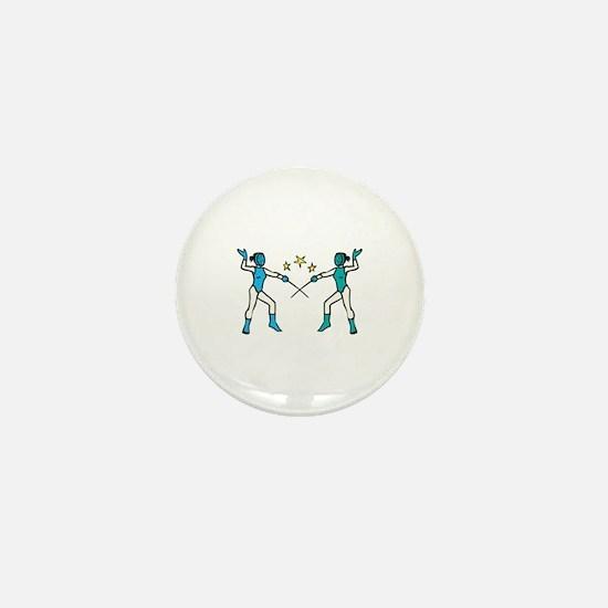 Women Fencing Mini Button