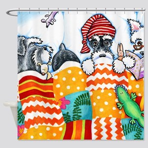 Schnauzers And Snoozes Shower Curtain