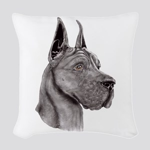 Great Dane Black Show Colors Woven Throw Pillow