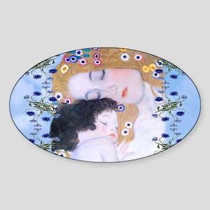 Gustav Klimt Mother & Child Coin Pu Sticker (Oval)