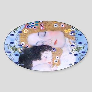 Gustav Klimt Mother & Child Clutch  Sticker (Oval)